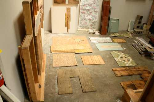 Jane's neatly laid out works in progress