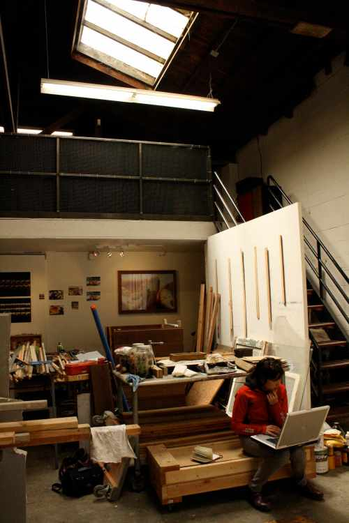 Jane Kim in her studio at The Dump