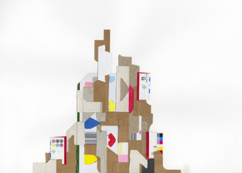 "Matthew Gordon ""Monument"", 14""x17"", Acrylic and cardboard on paper, 2008"