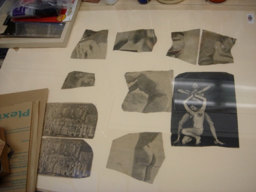 Scrap photos culled from a stranger's collection during Bessie's residency at The Dump