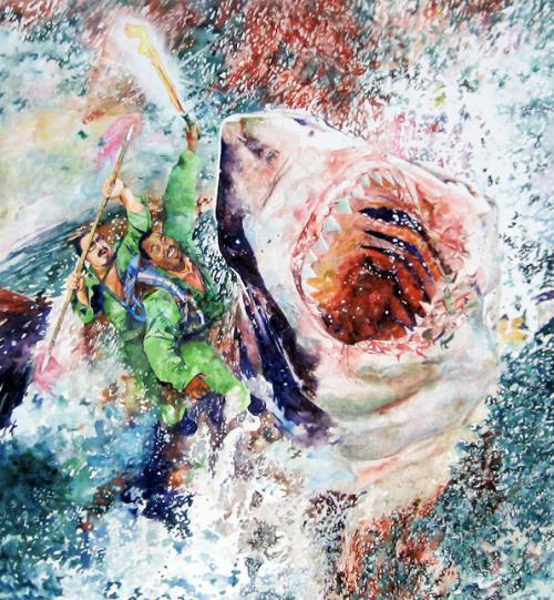 """Conrad Ruiz """"Rough Riders"""", 2008, Watercolor on Canvas, 83""""x76"""""""
