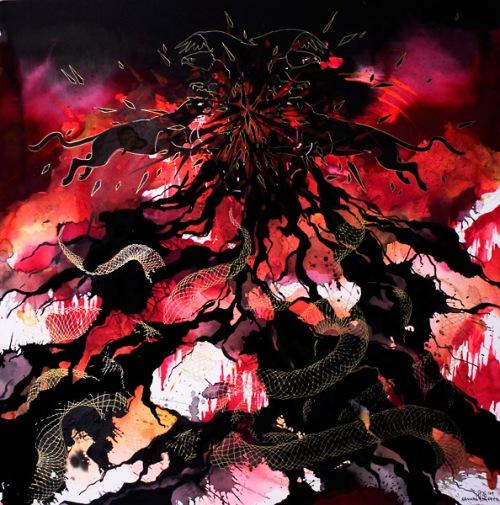 """Island of Fire, Sea of Flame"", 20""x20"", 2009"