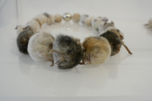 "Anni McKnight, ""Untitled"", Silver + Taxidermied Mice"