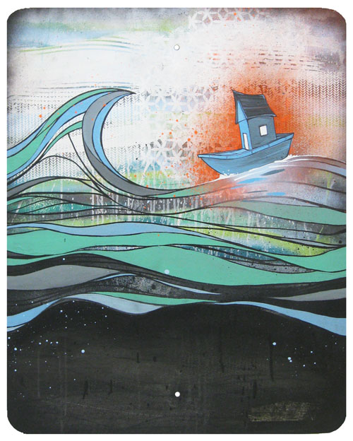 """""""Passing"""", House paint, spray paint and screen print on street sign, 24"""" x 30"""", 2009"""