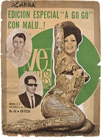 """Especial a go-go"", gouache and ink on vintage poster, 2003"