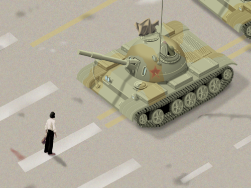 Anonymous man confronts tank at Tiananman Square, Beijing 1989