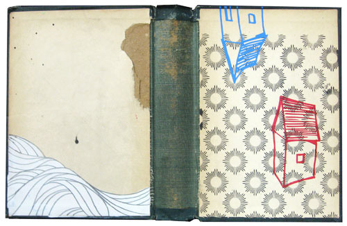 """""""Sketch 15"""", House paint, screen print and pencil on recycled book cover, 13""""x 9"""", 2009"""