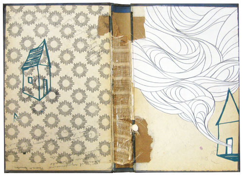 """Sketch 17"", House paint, screen print and pencil on recycled book cover, 12"" x 9"", 2009"