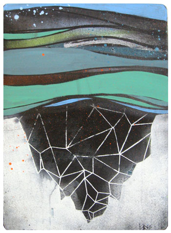 """Undersurface"", House paint, spray paint and screen print on recycled wood, 10""x 14"", 2009"