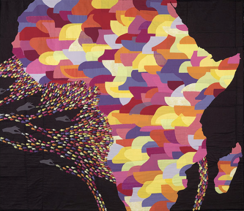 """""""The Unintentional Spread of Voodoo"""", Double sided quilt, fabric, appliqué, sewing pins, 73""""x63"""", 2008"""