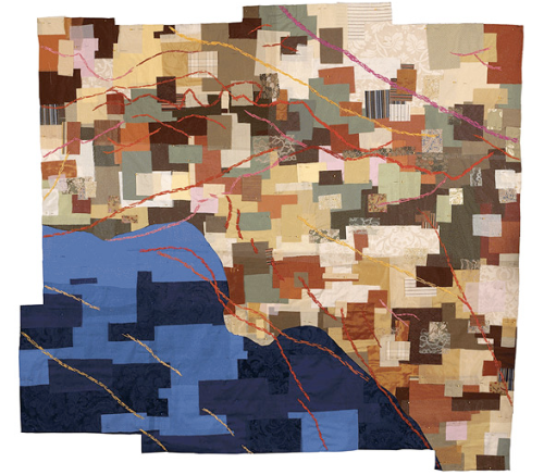 """""""Los Angeles Fault Zones Map Quilt"""", Fabric, 48""""x60"""", 2007"""